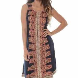 Shoreline boho rayon dress hippie print womens 1x